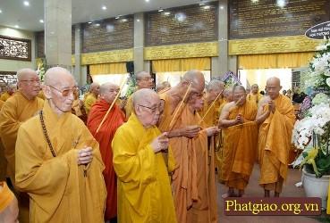 Chư tôn đức HĐCM, HĐTS, Viện NCPHVN, HVPGVN tại Tp.HCM: Kính viếng Giác linh cố Đại lão Hòa thượng Pháp Sư Thích Giác Nhiên