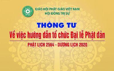 Thông tư: TƯGH Hướng dẫn tổ chức Đại lễ Phật đản PL.2564 – DL.2020