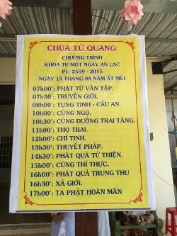 Chùa Từ Quang tổ chức khóa tu Một ngày An lạc và phát quà Từ thiện nhân dịp tết Trung thu.