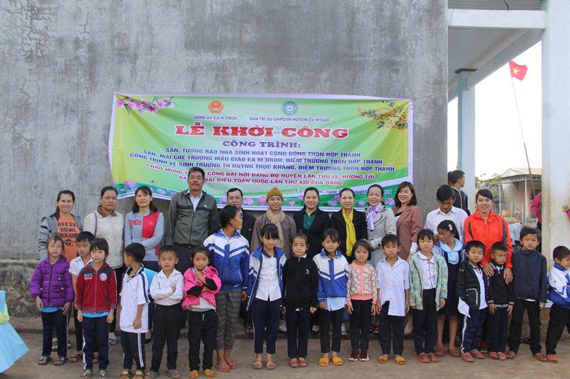 CưMgar: Khởi công xây dựng các công trình sinh hoạt cho các em tại trường TH Huỳnh Thúc Kháng