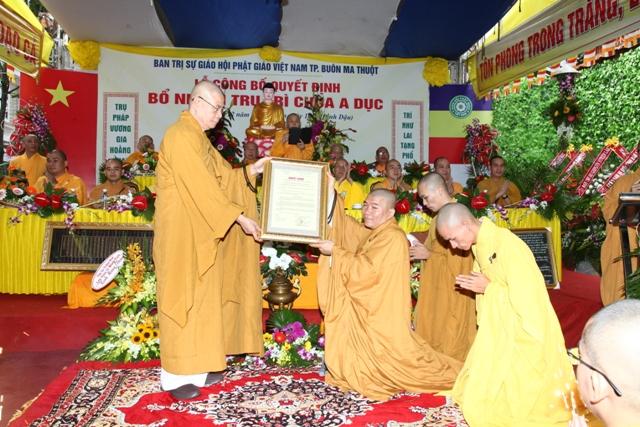 Lễ bổ nhiệm trụ trì chùa A Dục – TP Buôn Ma Thuột