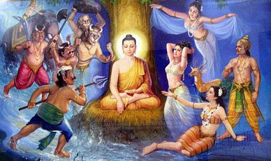 Đức Phật hàng phục Ma quân trước khi thành đạo