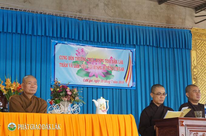 Thường trực BTS PG tỉnh DakLak thăm và làm việc với BTS PG huyện CưMgar